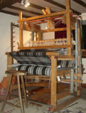 woven blanket on loom by Beryl Smith