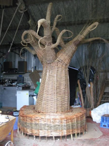 Tree of Life woven from willow by Beryl Smith